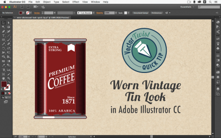 VectorTwist Quick Tip – Worn Vintage Tin Look in Illustrator
