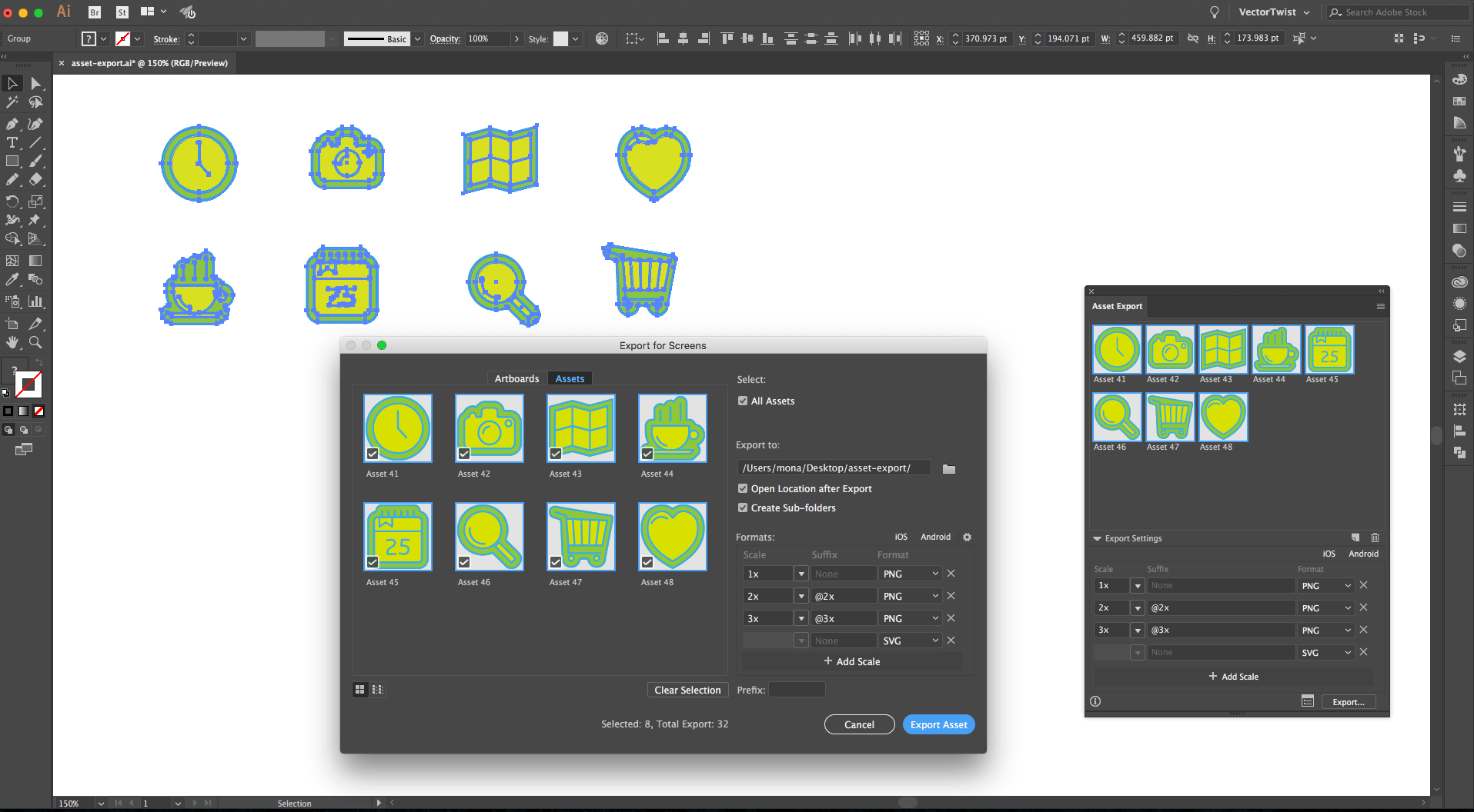 Export for Screens in Illustrator