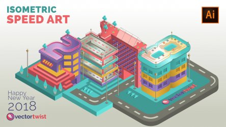 Isometric Speedart – Numbers & Buildings (2018)