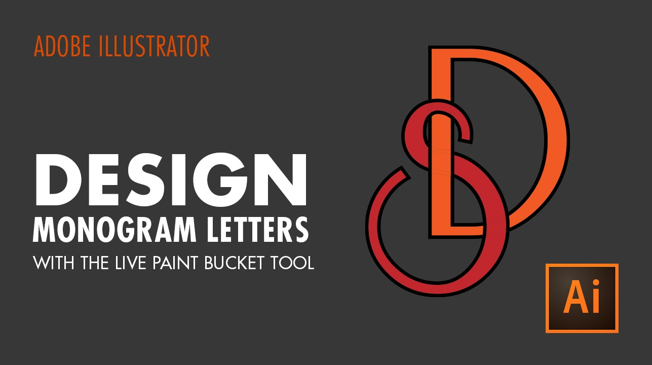 How To Design Monogram Letters With The Live Paint Bucket Tool In Adobe Illustrator Cc Vectortwist Simona Pfreundner