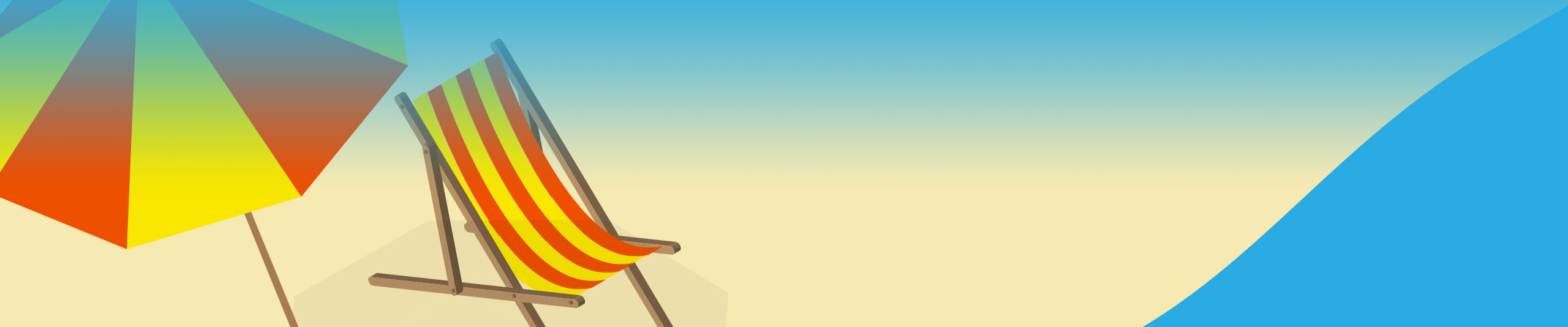 Isometric Beach Chair with Sun Umbrella in Adobe Illustrator